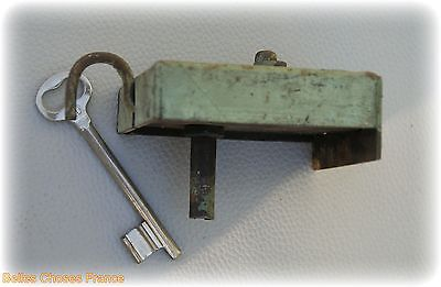 Antique french iron door lock  with lock system and key green color