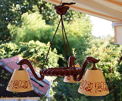 Vintage gorgeous french ceramic barbotine ceiling lamp fixture dark red 3 lights