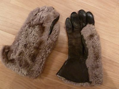 Vintage Fur & Leather Gloves size small