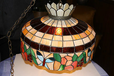 Vintage Tiffany Style Leaded Glass Hanging Lamp