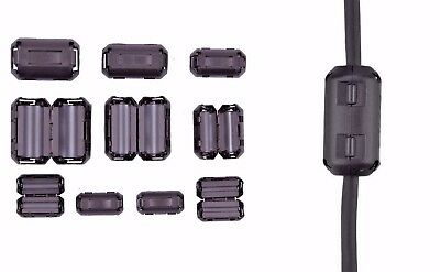 Ring Core Ferrite Bead Choke Coil Clamp RFI Cable Clip 10-Pack Snap On 3mm