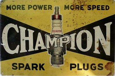 CHAMPION SPARK PLUGS MORE POWER MORE SPEED aged look all weather sign metal sign