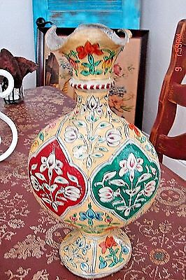 Antique Vintage Paper Mache Vase Hand Painted Middle Eastern India?