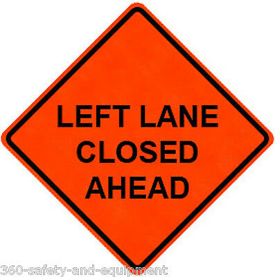 """Left Lane Closed Ahead 36"""" X 36"""" Vinyl Fluorescent Roll Up Sign With Ribs"""
