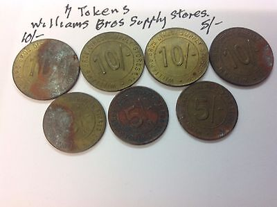 G.B..Tokens.  7 tokens.  WILLIAMS BROS,  DIRECT SUPPLY STORES.
