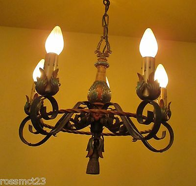 Vintage Lighting lovely 1920s polychrome chandelier newly wired