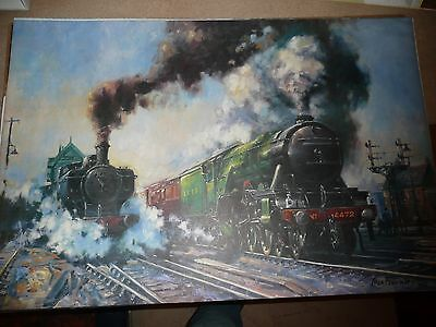 RAILWAY PRINT  OF The Flying Scotsman passing a Saddle Tanker
