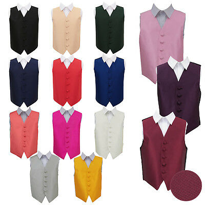 "DQT Premium Plain Solid Check Page Boy Vest Wedding Boy's Waistcoat Size 22""-34"""