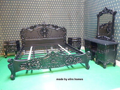 Matt Black Rococo bedroom set   with Double or King size bedframe    TOP QUALITY