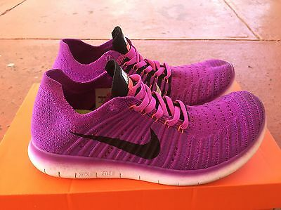 AS NEW Nike Free Flyknit Shoes - Size 8 - Purple Running Sports Gym - RRP: $220