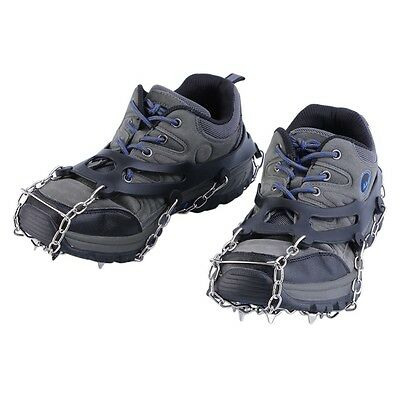 1 Pair Claws Crampons Shoes Cover Stainless Chain Outdoor Ski Snow Tool BE