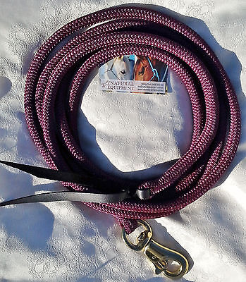 12ft Lead Rope with Brass Trigger Bull Snap - Burgundy by Natural Equipment