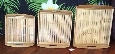 Bamboo Serving Trays Set Of Three  Natural Colour Square Bali Balinese