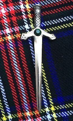 Scottish Highland Sword kilt pin Antique Finish Green Stone/Celtic Kilt Pin/pins