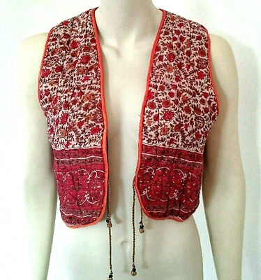 Vintage 1960s / 70s Ethnic Hippy Boho quilted waistcoat Size 8 - 10