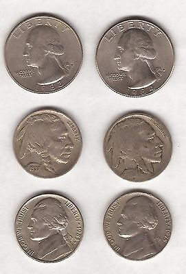 6 United States Of America Usa - 4 X Five Cent Coins & 2 X 1/4 Dollars