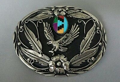 Vintage Handcrafted Inlay Eagle Native American Western Belt Buckle