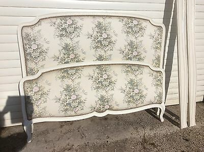 Antique Vintage White Capitonne French Bed Frame