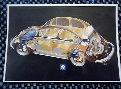 """ x-ray"" of an early  VOLKSWAGEN BEETLE Postcard."