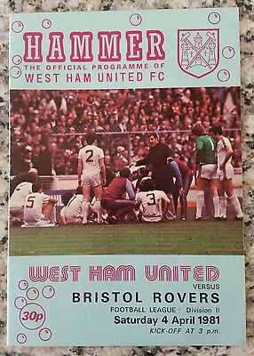 West Ham United v Bristol Rovers Division Two 1980 - 1981
