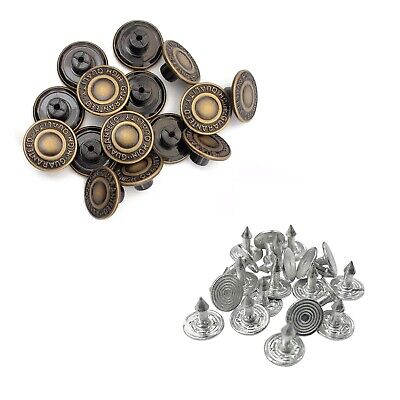 10 x 17mm Replacement Hammer on Jeans Buttons Denim Brass Studs Jacket Trousers