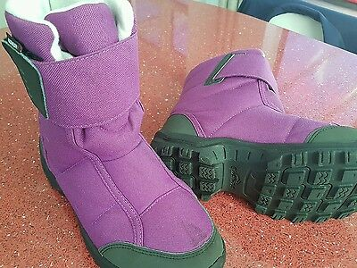 Kids Quechua Winter Snow Boots Purple Black Size 1.5