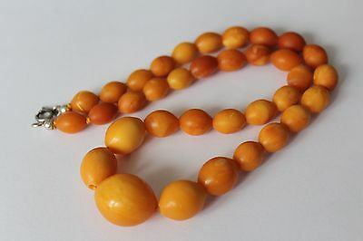 ANTIQUE AMBER NECKLACE, BUTTERSCOTCH EGG YOLK, RARE NATURAL BALTIC AMBER 老琥珀 21g