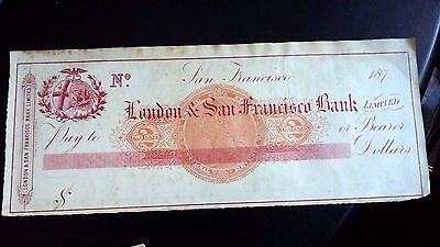 Old  Bank Cheque London  San Francisco Bank  Dated 187?      Ref 2