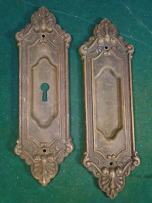 Pair Victorian Eastlake Pocket Door Plates -  Beautiful Design (6797)