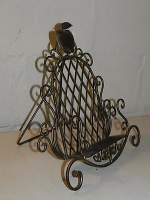 Antique Style Iron Book Stand Apple Lattice Scroll Bible Music Holder Display