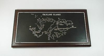 Vintage military naval interest Falkland Islands wall plaque relief hanging map