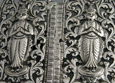 BEAUTIFUL HIGH QUALITY INDIAN SOLID SILVER BELT BUCKLE c1900 ANTIQUE 66g