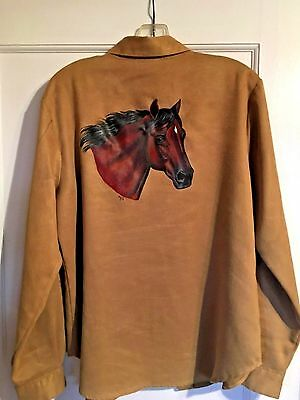 "Bay Horse Hand Painted On Tan Woman's Blouse by ""LIMITED"""