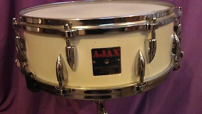 Vintage Ajax 14x5 Pipper snare drum Parallel model Brilliant White original 50's