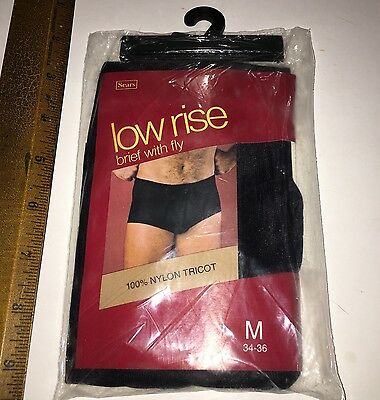 New NOS Black Sears Vintage Nylon Trico Men's Brief sz Med 34-36 Low Rise w Fly