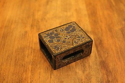 Vintage Hand Painted Lacquered Match Box Cover Kashmir India