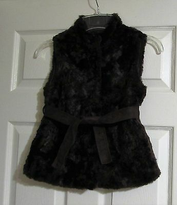Girl's GYMBOREE Dark Brown Fur Vest With Belt  Size Small (5-6)