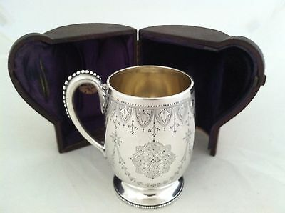 Beautiful Floral Scroll Christening Cup Sterling Silver 1876