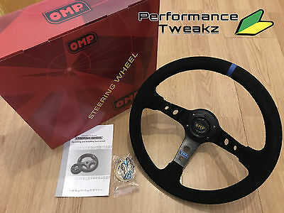 New Universal Black Omp 350Mm Suede Blue Stripe Deep Dish Racing Steering Wheel