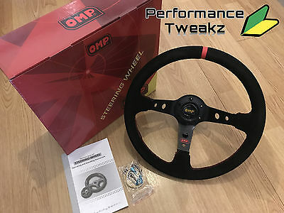 New Universal Black Omp 350Mm Suede Red Stripe Deep Dish Racing Steering Wheel