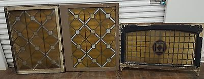 Three Large Antique Stained Glass Windows