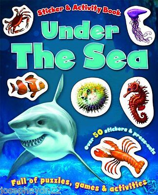 NEW  UNDER THE SEA  STICKER and ACTIVITY book full of puzzles games & activities
