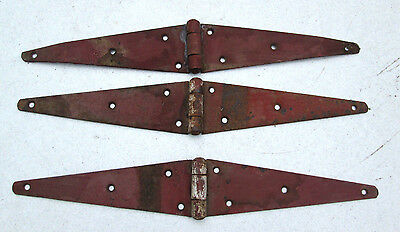 "3 Antique Rustic Barn Door / Gate Hinges - 21""- Original Red Barn Paint"