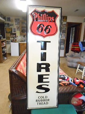 """Outstanding Collectible Metal Sign-PHILLIPS 66 TIRES """"Cold Rubber Tread"""" 42.5x14"""