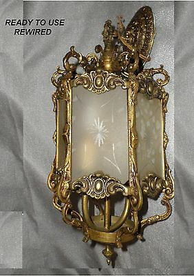 Vintage Chandelier Ceiling Lamp Foyer Dining Hall - Two Lite  Brass - NEW WIRING