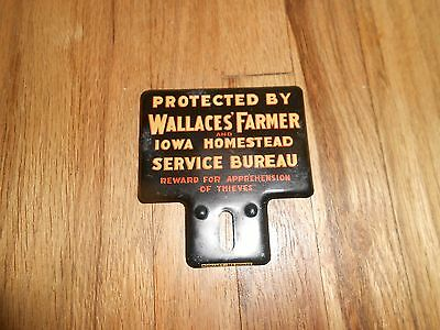 Vintage Wallaces Farmer Iowa Homestead Advertising Tin License Plate Topper SIGN