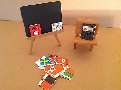 Vintage Doll House Miniatures Wooden School Desk And Chalk Board On Easel