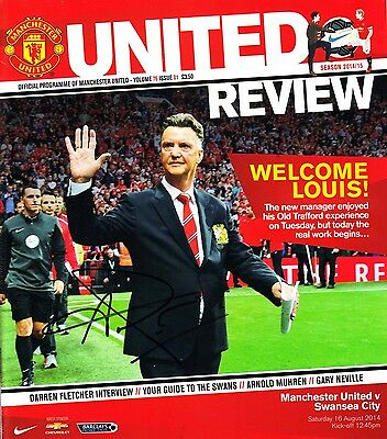 Louis Van Gaal Signed Home Game Debut Autograph Manchester United Programme