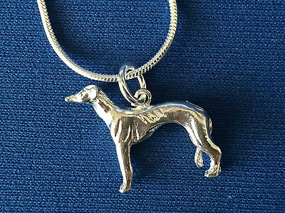 Greyhound. Lurcher Dog Pendant Sterling Silver   And Snake Chain .925