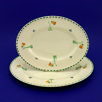 Two Vintage John Maddock & Sons Royal Ivory 'Daffodil' Oval Platters-Lge & Small